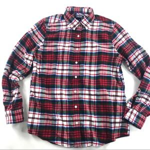 Lands End Plaid Flannel Shirt 12 Red & Green